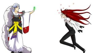 Grell and Sesshomaru: 1st Date by virtualpapercut