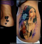 Japanese girl with Dragon tattoo by grimmy3d