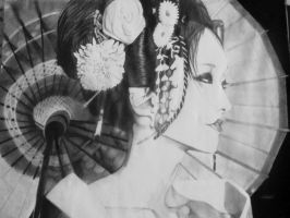 Black and White Drawing of a Japanese Geisha by AyumiEclipse