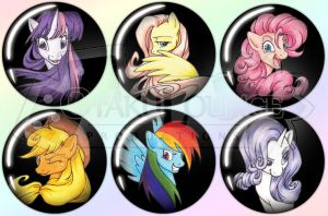 Glamorous Mane Six Buttons by Rider4Z