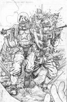 Cap and Sgt Rock WWII - PENCIL by BillDinh