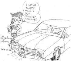Wonder Gal and a 1970 Chevrolet Chevelle by stephdumas
