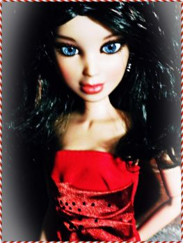 Dark Haired Sophie in a Red Dress by Dollart