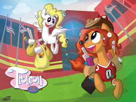 Trotcon Print- Peanut Bucker and Surprise by WillDrawForFood1