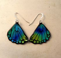 Butterfly Wing Earrings Rear Wing Fused Glass Yel by FusedElegance