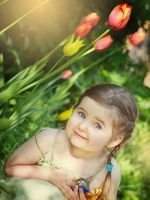 Little girl and Tulips 2 by Swan-Lake