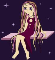 girl with long hair - coloured by strawberrybear