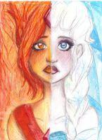 ICE AND FIRE-ELSA AND FLAME PRINCESS drawing by NENEBUBBLEELOVER