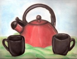 Tea Kettle and Mugs by SpeciosusNihilum
