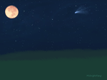 Gold Moon & Comet by xNightxx