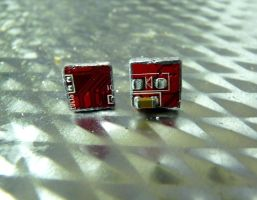 Square Red Circuit Board Earrings by Divulged