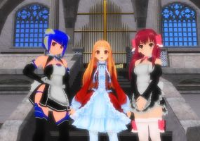 MMD- Princess and her maids by Mochalala