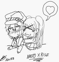 P4 - Naoto X Rise :LINE ART: by Aikobo