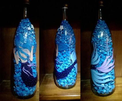 mermaid trapped in a bottle by emzie162