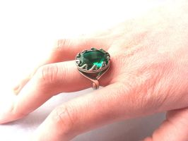 Emerald Ring Hearts Crown Setting Solid Sterling by artistiquejewelry