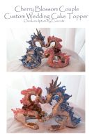 Wedding Topper Cherry Blossom Asian Dragons by Eviecats