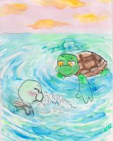 Swimming little turtles by SnappySnape