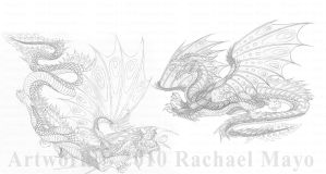 Song in Sky 5 Dragons pencil by rachaelm5