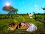 Me and my Lion sleeping in the wild by annemaria48