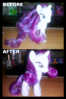 Rarity Mane Styling Before/After by Musapan