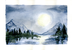 Moonlit Mountains by JoffOliver