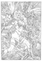 Red Sonja against the army of orcs! by fabiojansen