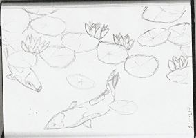 Koi Pond - Pencil Sketch by Wolffie12