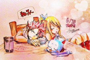 Natsu and Lucy sleeping by momo-chan117