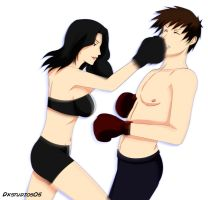 boxer girl01 Vs guy01_003 COMMISSION by DKSTUDIOS05