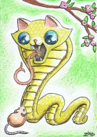 Funny cat Chinese Zodiac Year of the Snake by KingZoidLord
