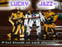 Jazz flanked by hot blondes by Golden-Dragon-Girl