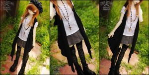 FS: Asymmetrical long vest - Black by kuroi-carousel