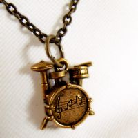 Brass 3D Drum Kit Necklace by SteamSociety