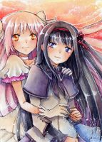aceo madoka x homura collab by MIAOWx3