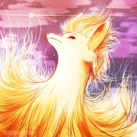 Ninetales watercolour painting by ToonieCheckers