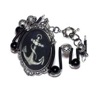 Steampunk Goth Jewelry - Bracelet - Anchor Cameo by CatherinetteRings