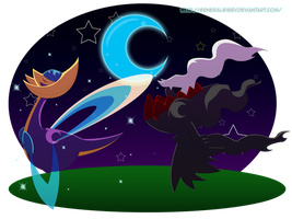 Darkrai and Cresselia- A Midnight Stroll by GeneralGibby