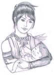 Morrigan and Baby WIP by SerFrea