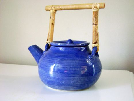 Blue Bellied Teapot by lizetpottery