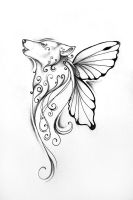 Butterfly-wolf tattoo by wolf-minori