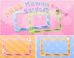 FREE Kawaii food borders - Thx for 250 watchers by RinaShuu