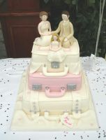 suitcase wedding cake by Dragonsanddaffodils