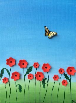 Poppy Field Mixed Media Painting  by noellewis
