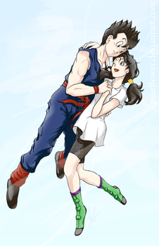 Gohan and Videl by PearFlower
