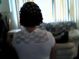 vintage style crochet snood (back) by lovechairmanmeow