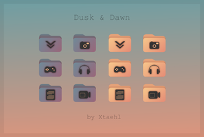 Dusk and Dawn folder icons by Xtaehl