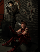 Red Hood and Arsenal : Smoke Break by PaintedKing