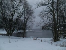 Snowy Pond by da-joint-stock