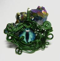 Green Wire Wrap Blue Dragon Eye Pendant by Create-A-Pendant