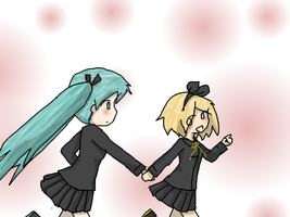 Miku and Rin by Caro-chan by CariAguilar